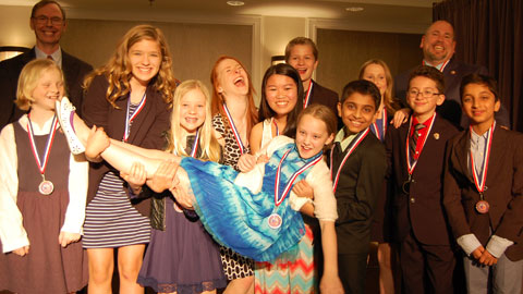 Students from Northville Montessori Center in Plymouth, Michigan, enjoying their time at the National Invitational.